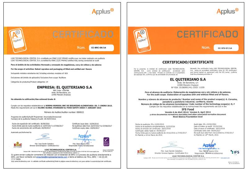 Certificaciones Calidad Magdalenas Heras Bareche